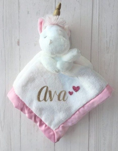 Baby Girl's Personalized Unicorn Security Blanket Newborn
