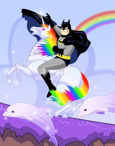 Batman Riding Robot Unicorn Print