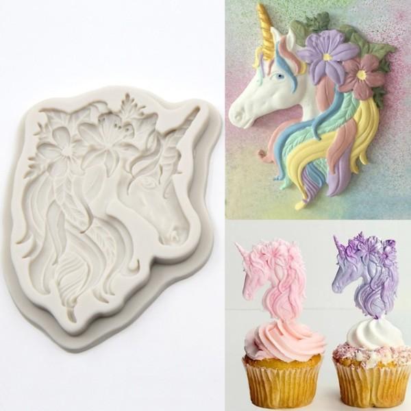 Cartoon Unicorn Horse Pony Silicone Mold Fondant Cake Molds Large