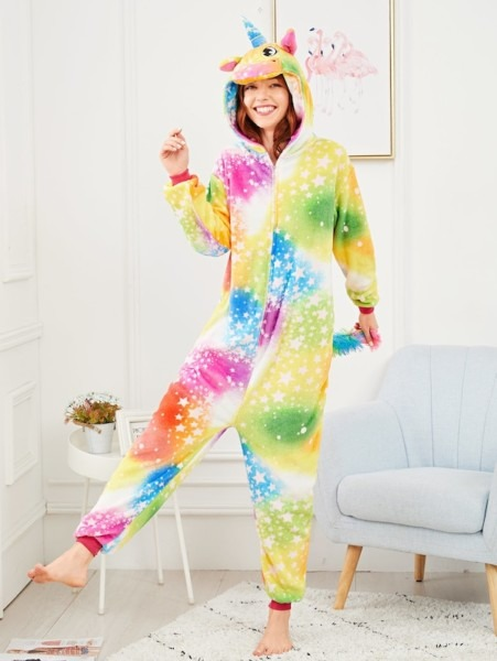 Christmas Star Print Plush Unicorn Onesie