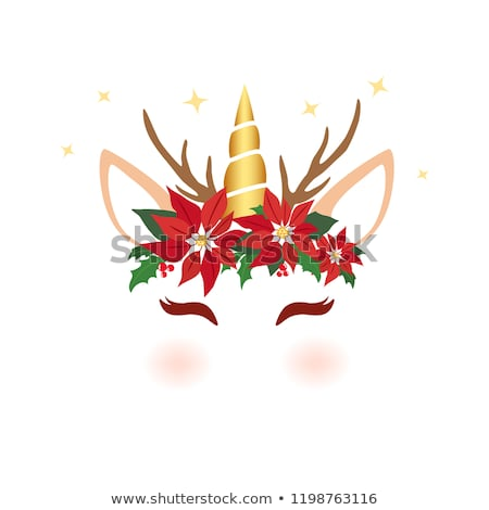 Christmas Unicorn Face Cute Unicorn Character Stock Vector