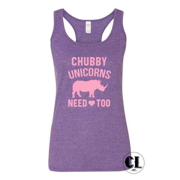 Chubby Unicorns Need Love Too Tank Top Racer Back ~ Clotee Com