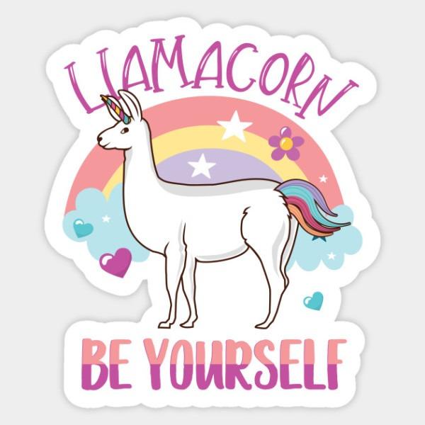 Cute Be Yourself Rainbow Llamacorn Llama And Unicorn