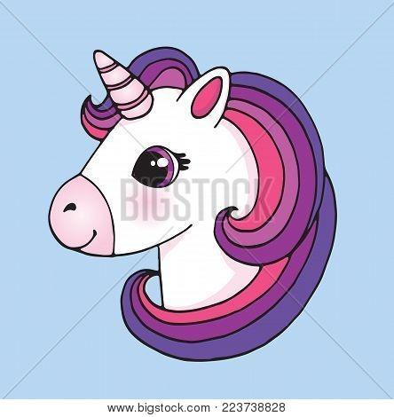 Cute Cartoon Unicorn Vector & Photo (free Trial)