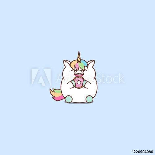 Cute Fat Unicorn Eating Donut Cartoon, Vector Illustration