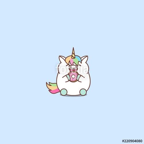 Cute Fat Unicorn Eating Donut Cartoon, Vector Illustration  Stock