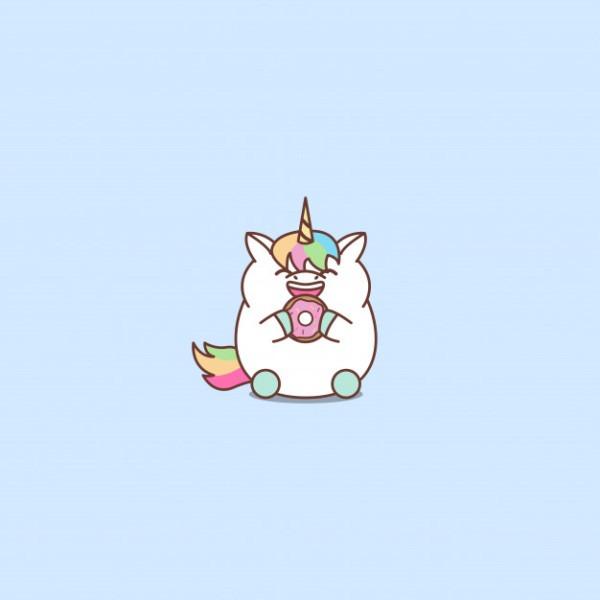 Cute Fat Unicorn Eating Donut Cartoon, Vector Illustration Vector