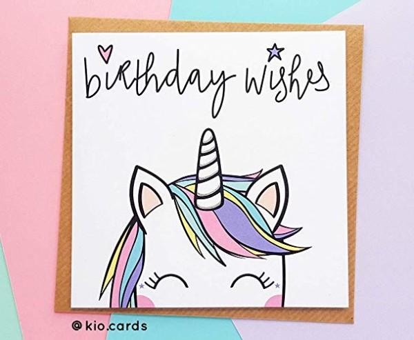 Cute Unicorn Birthday Card, Rainbow Unicorn Gift  Amazon Co Uk