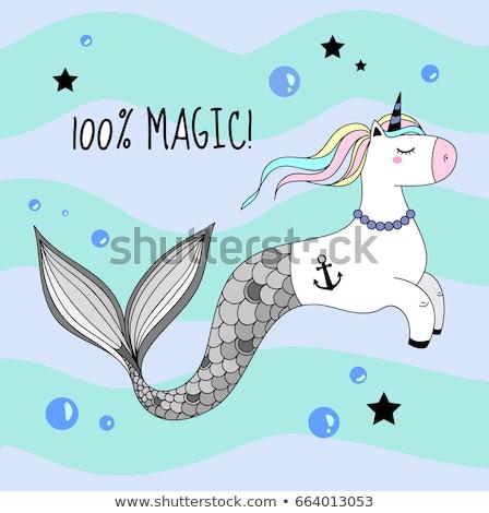Cute Unicorn Mermaid Tail Rainbow Mane Stock Vector (royalty Free