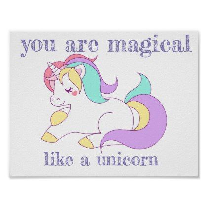 Cute Unicorn Poster For Nursery
