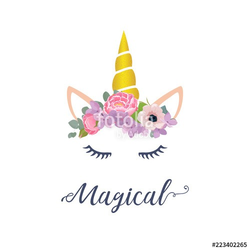 Cute Unicorn Vector Graphic Design  Cartoon Unicorn Head With