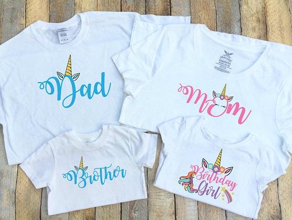 Dad, Mom, Brother, Birthday Girl Unicorn Family T Shirts