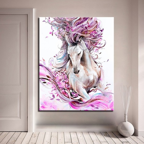 Diy Kits By Numbers Painting Animal Horse Acrylic Coloring On