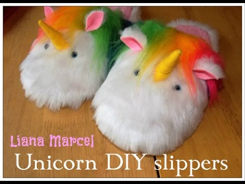 Diy Tutorial Rainbow Unicorn Plush Slippers