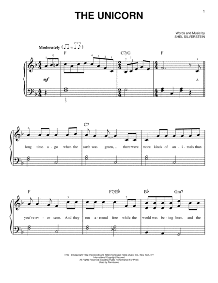 Download The Unicorn Sheet Music By Irish Rovers