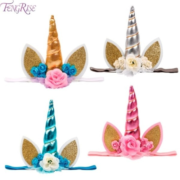 Fengrise Gold Glitter Unicorn Horn Headband Happy Birthday Party