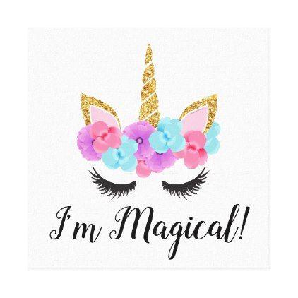 Flowers Gold Magical Unicorn Girls Canvas Print