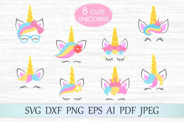 Free Unicorn Svg, Unicorn Face Cut Files, Unicorn Heads Cliparts