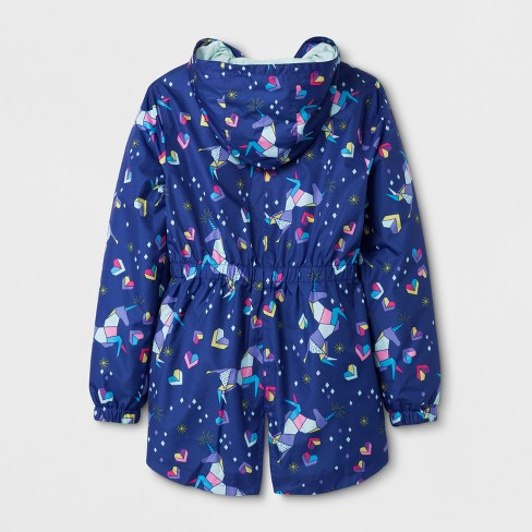 Girls' Unicorn Printed Windbreaker Jacket