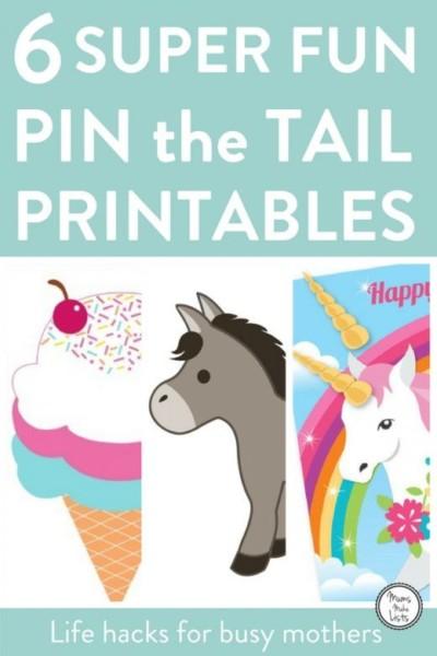 Gorgeous Kids Pin The Tail Printables