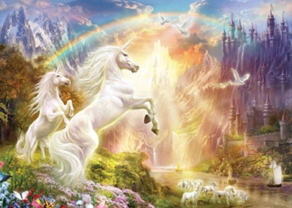 Jigsaw Puzzle Fantasy Unicorn Rainbow River Glitter 500 Piece Nib