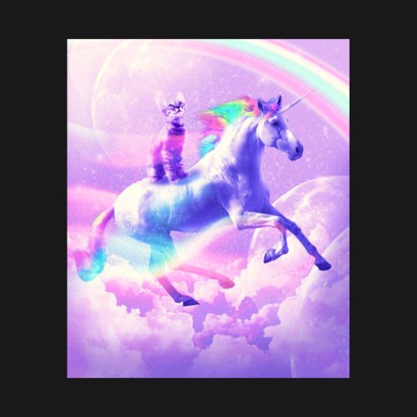 Kitty Cat Riding On Flying Unicorn With Rainbow