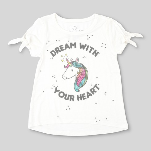 L O L  Vintage Girls' Unicorn Short Sleeve T