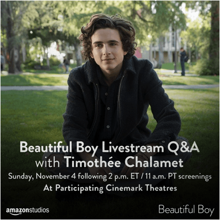 Live Q&a With Timothée Chalamet On November 4th At Participating