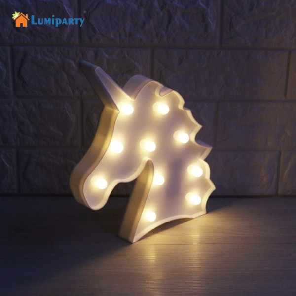 Lumiparty Led 3d Unicorn Marquee Light For Home Decoration Led