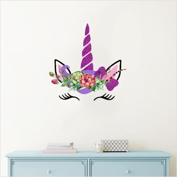 Magical Cartoon Unicorn Head Color Wall Sticker For Bedroom Kids