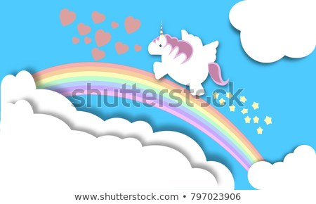 Magical Unicorn Flying Over Rainbow Fantasy Stock Vector (royalty