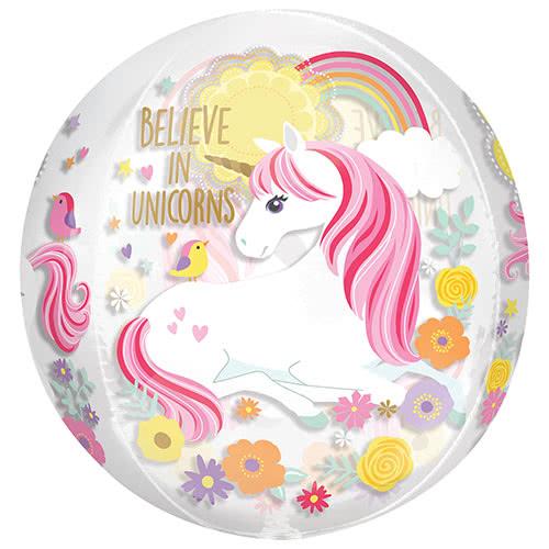 Magical Unicorn Orbz Foil Helium Balloon 38cm   15inch