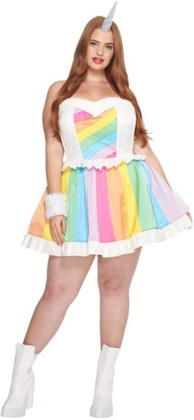 Melonhopper Plus Size Rainbow Rider Unicorn Costume Women's Dress