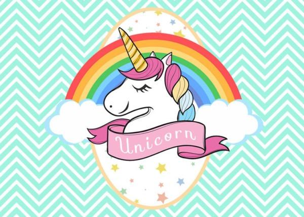 Mint White Wave Striped Rainbow Unicorn Backdrop For Birthday