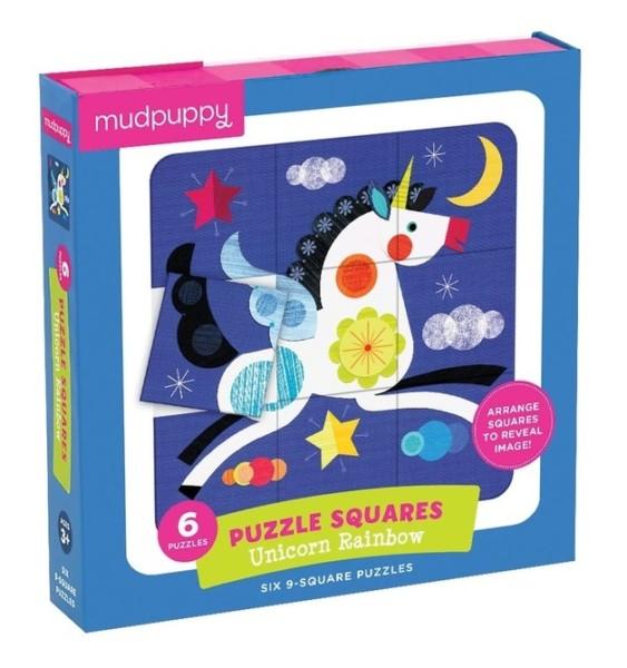 Mudpuppy Unicorn Rainbow Puzzle Squares 6 Puzzle Set