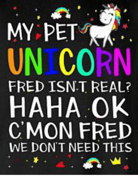 My Pet Unicorn Haha Ok Fred Isnt Real  Cmon Fred We Don T Need