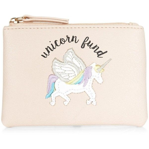 New Look Stone Unicorn Fund Zip Top Coin Purse ($5 23) ❤ Liked On