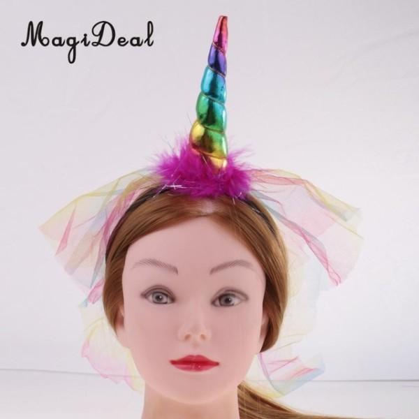 Novelty Rainbow Unicorn Horn Fluffy Hairband Headband With Veil