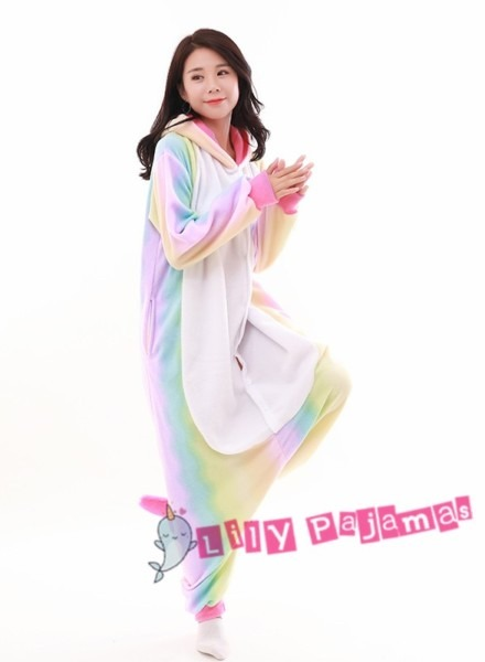 Pastel Hologram Rainbow Unicorn Onesie Kigurumi Pajamas For Adults