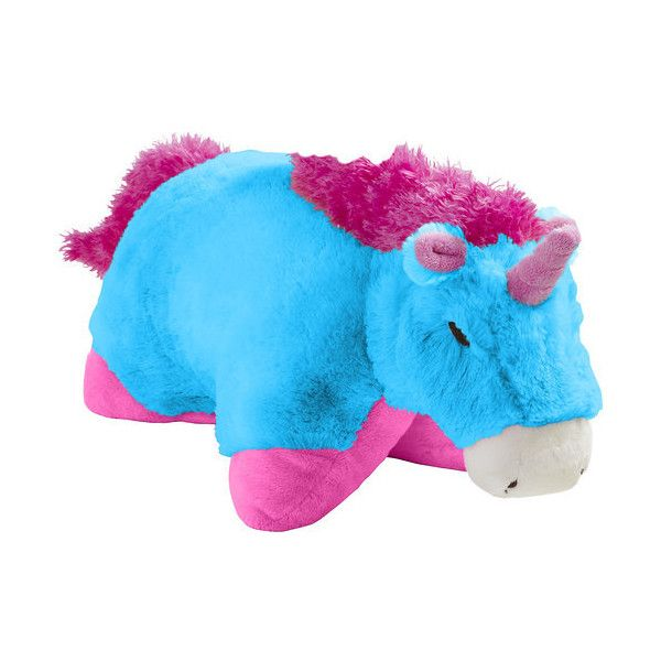 Pillow Pets Neon Blue Unicorn ❤ Liked On Polyvore