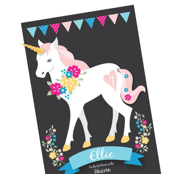 Pin The Tail & Horn On The Unicorn Party Game Diy Party