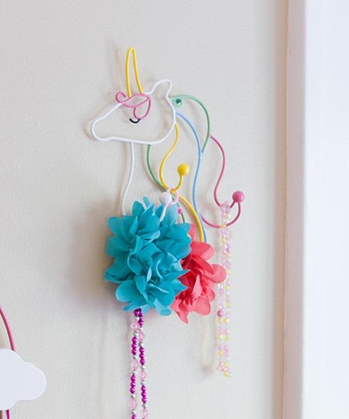 Pine & Paint Colorful Unicorn Wall Hook Jewelry Holder