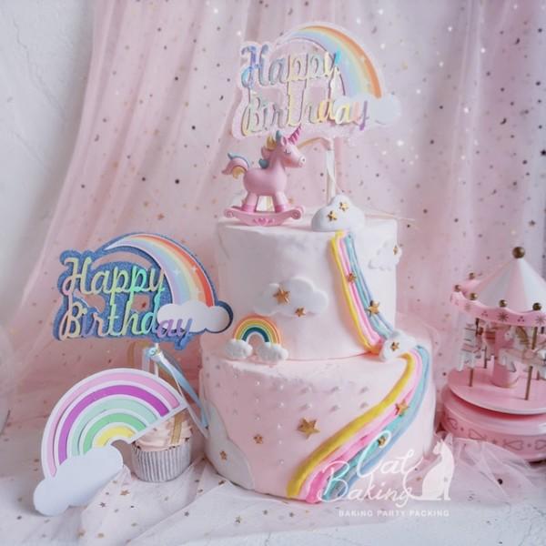 Pink Blue Biling Rainbow Cloud Unicorn  Happy Birthday  Cake