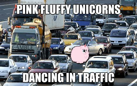 Pink Fluffy Unicorns Dancing In Traffic