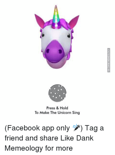 Press & Hold To Make The Unicorn Sing Facebook App Only 🎤 Tag A