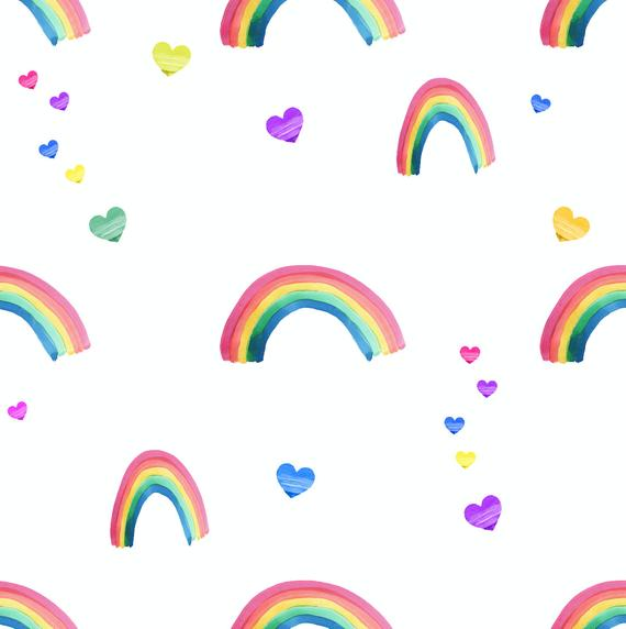 Rainbow Fabric Unicorn Fabric Knit Fabric Unicorn Heart