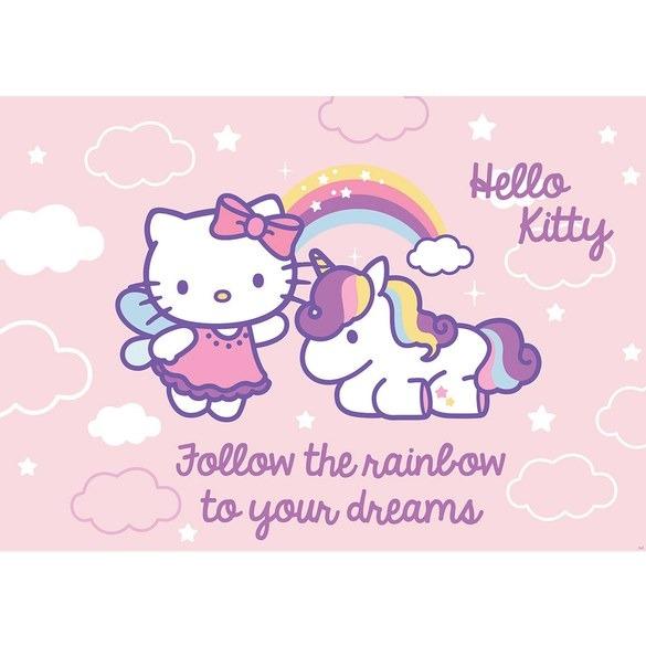 Rainbow Hello Kitty With Unicorn Wallpaper Mural