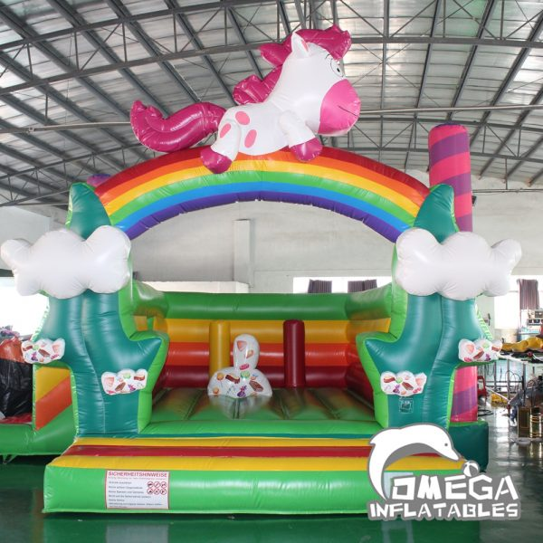 Rainbow Unicorn Inflatable Bouncy Castle