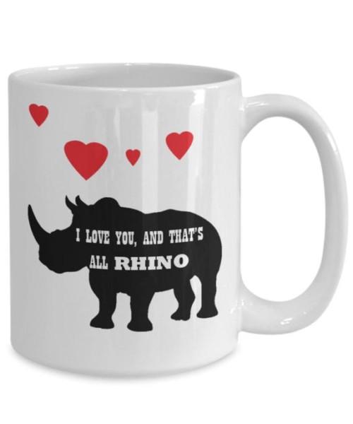 Rhino Coffee Mug Chubby Unicorn Mug I Love You And