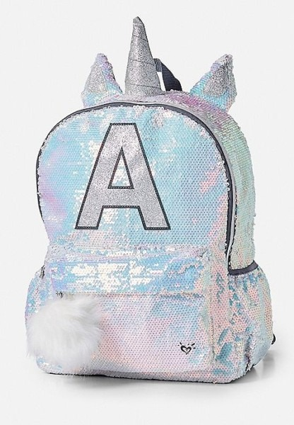 Shimmer Unicorn Initial Backpack
